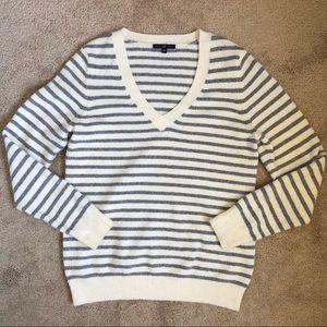 GAP Soft Cozy Grey Striped V Neck Sweater